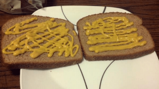 But most importantly, mustard people need to be stopped because YOU DON'T DO THIS TO BREAD: