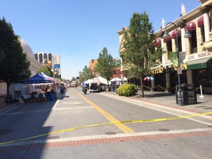 A driver who was heading toward crowds at a street festival was shot by police on Sunday in Reno, Nevada.