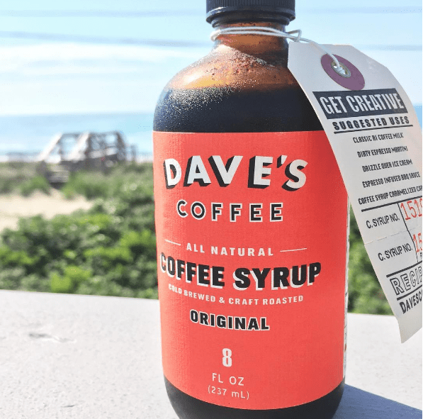 Coffee and coffee syrup from Dave's Coffee, RI