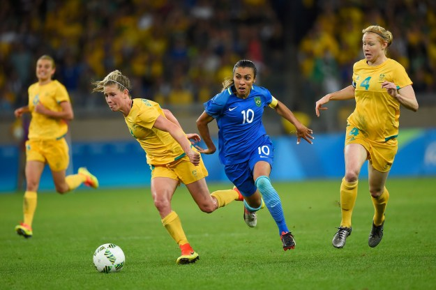 The Australian and Brazilian women's soccer teams faced off against one another in the quarter finals of the Rio Olympics on Friday night.