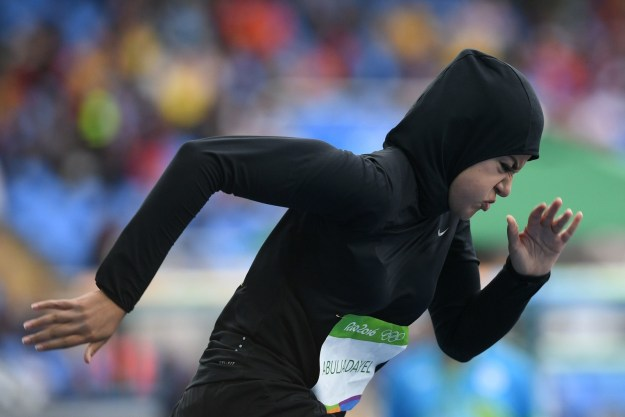 Kariman Abuljadayel made history on Saturday when she became the first Saudi Arabian woman to compete in the 100-meter race at an Olympic Games.