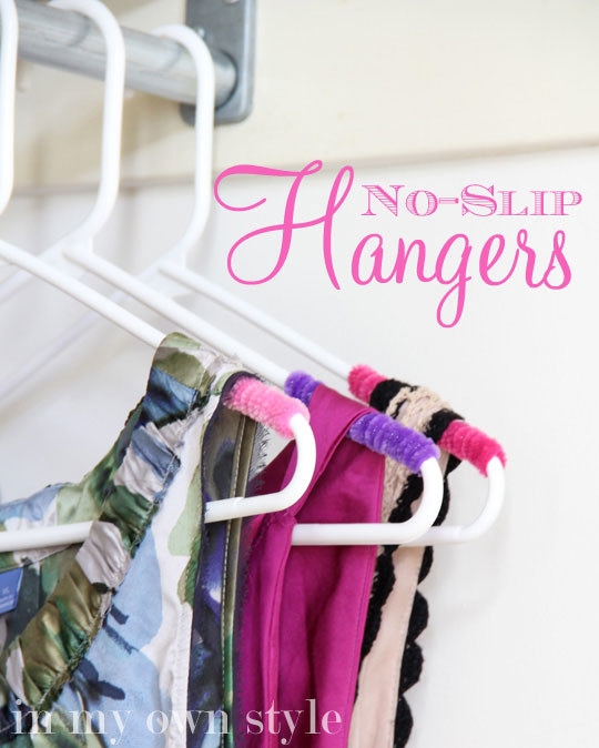 "DIY No-Slip Hangers Tutorial | My Own Style - Such a CLEVER and easy way to turn plastic cheap hangers into ""No-Slip"" hangers for your slick blouses and strappy tops and dresses! - Closet Organization Ideas and Space Saving Hacks"