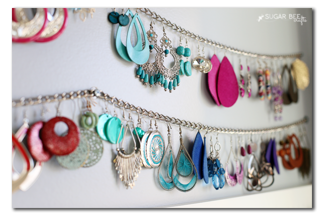 To keep earrings in order, keep them on a chain.