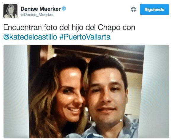 """El día de hoy, después de entrevistar a Almaguer en su programa """"Atando Cabos"""", la periodista Denise Maerker dio a conocer esta fotografía de Guzmán con la actriz Kate del Castillo."""