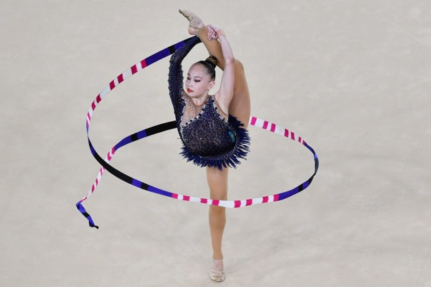 Oh, the ribbon-dancing thing, you're thinking. Also the thing with the ball, the hoop, and the clubs.