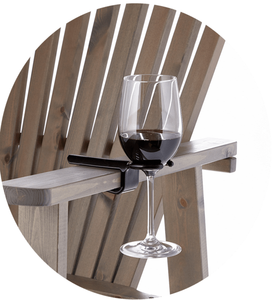 This clip-on wine hook so your glass never has to touch the peasant ground.