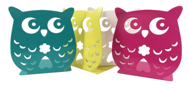 Colorful metal bookends that'll make you hoot with joy.