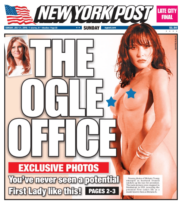 Our tale begins Sunday, when the New York Post ~exclusively obtained~ and published nude photos of the former model, known at the time as Melania Knauss, from the mid-1990s.