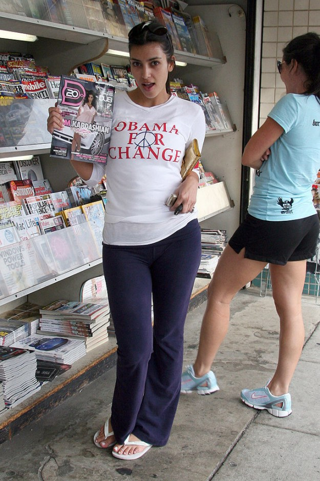 "Wear an ""Obama for Change"" T shirt for a trip to the news stand to look at herself on the cover of a magazine."