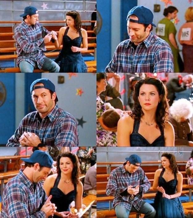 When he helped fix her broken shoe.