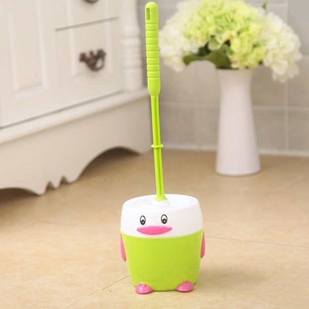 A bird toilet brush who's completely chill with the fact that he has to scrub away stains caused by your butt.