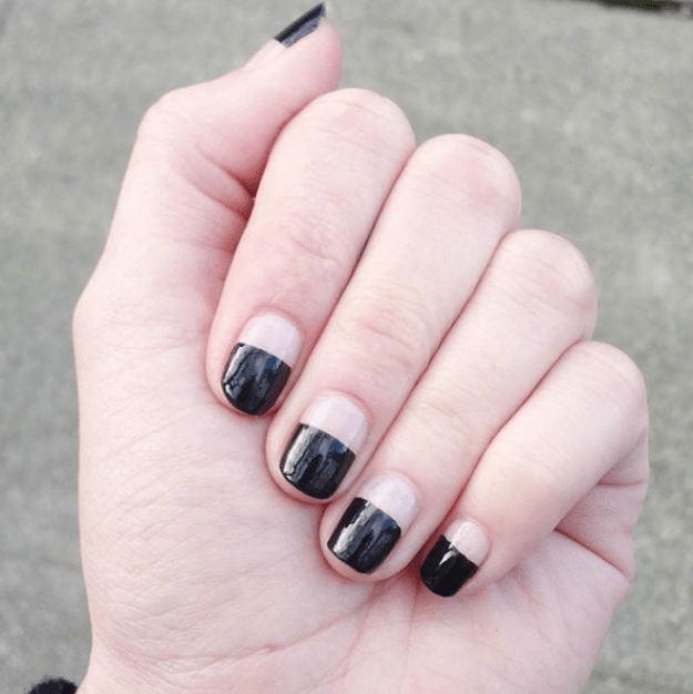 Black nails also look great with a half-and-half French manicure.