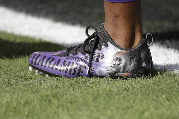 During a warm-up session before Sunday's game against the Philadelphia Eagles in Philly, McKinnon took to the field wearing some seriously amazing cleats.