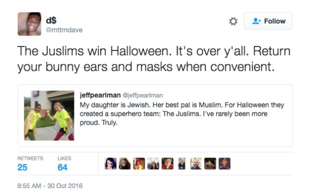 """The Juslims win Halloween. It's over ya'll."""