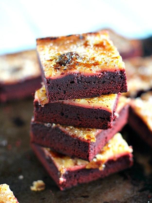 Red Velvet Creme Brûlée Brownies