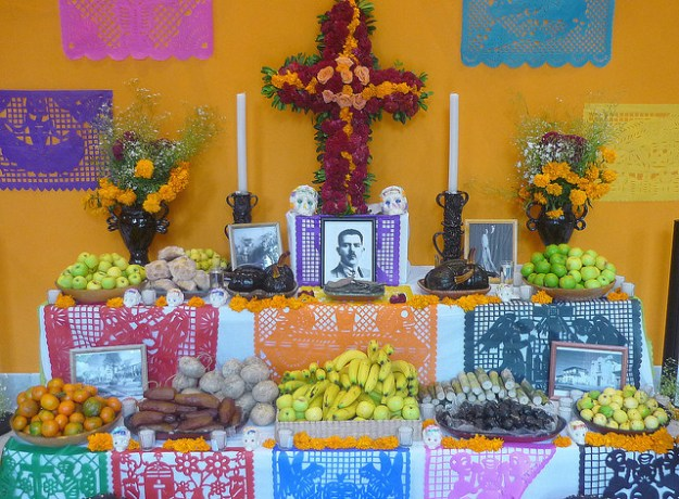 The altar's food display is all about what the deceased enjoyed feasting on the most.