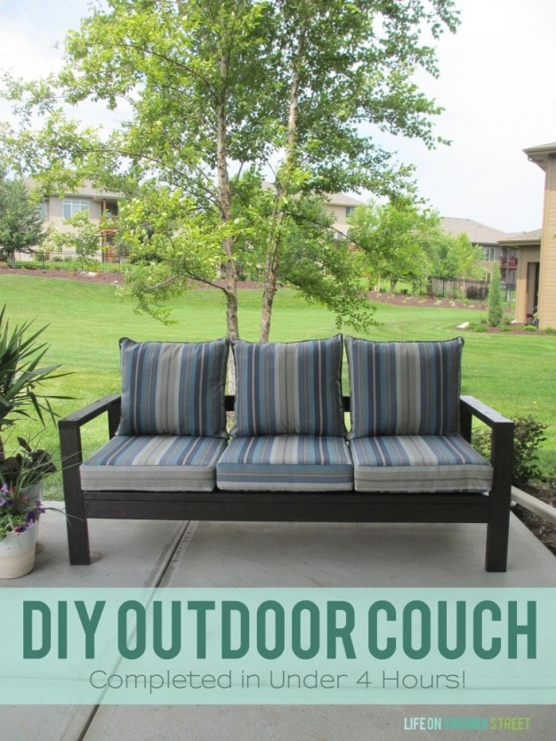 Put everything together and add cushions to make a cozy outdoor sofa.