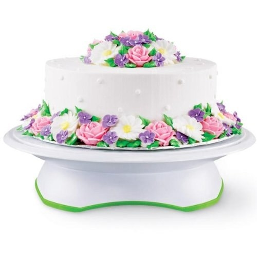 A rotating cake stand that makes frosting a cake ten times easier, with a set of cake circles to go with it.
