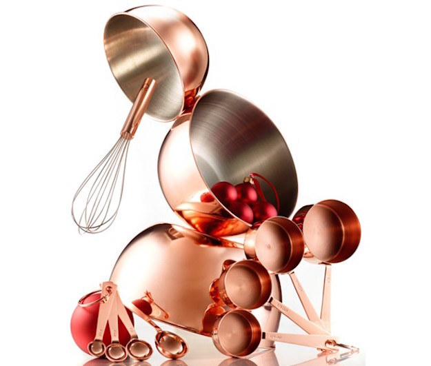 A shiny copper baking set that includes all the basic prep tools you could ever need.