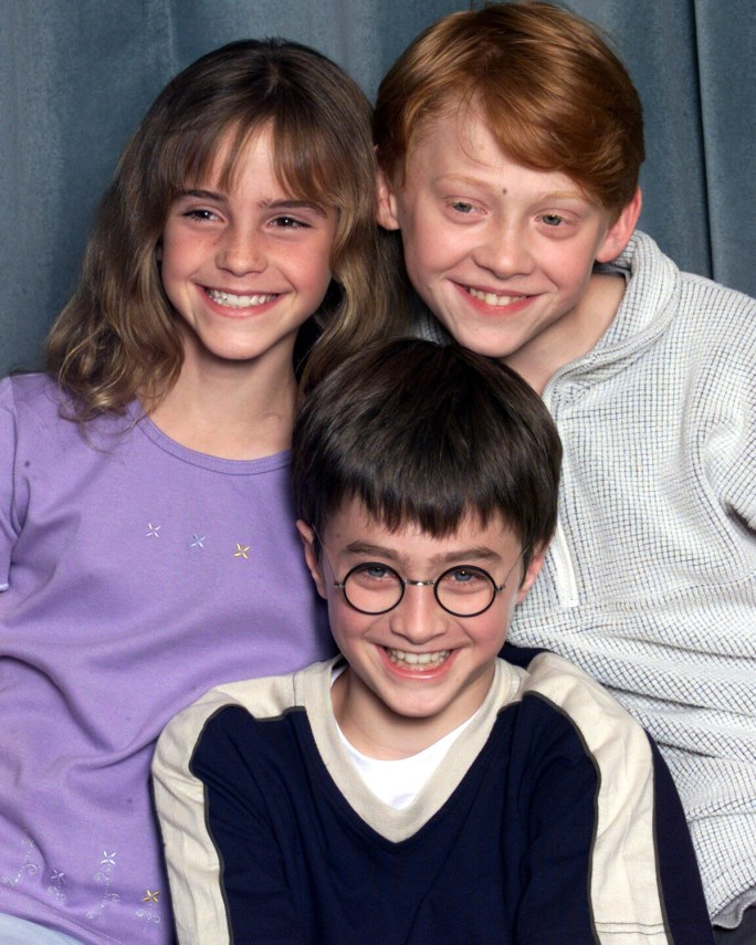 Emma Watson, Daniel Radcliffe, and Rupert Grint as 10 and 11 year olds in 2000.
