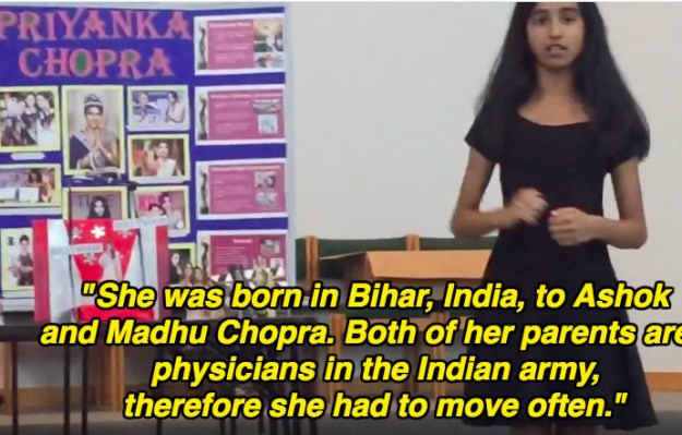 She begins the presentation by talking about where Chopra was born and gives a little information about her childhood.