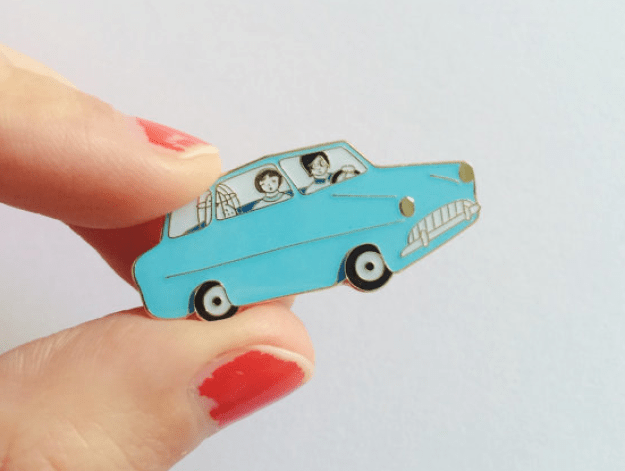 A flying car pin that is almost as good as an *actual* flying car.
