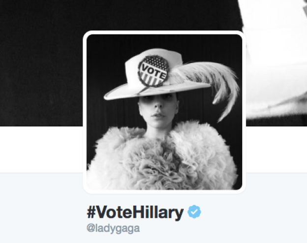 She even changed her Twitter profile to the #VoteHillary hashtag.