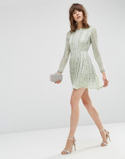 A bead-embellished skater dress in the perfect shade of mint.