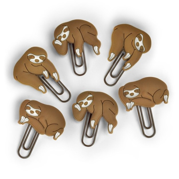 There's no way you could possibly be lazy when all your papers are kept together with these sloth paperclips.