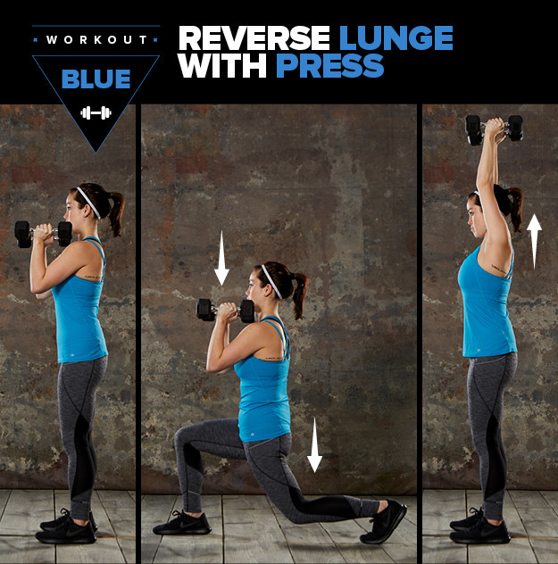 Here's how to do a reverse lunge with press: