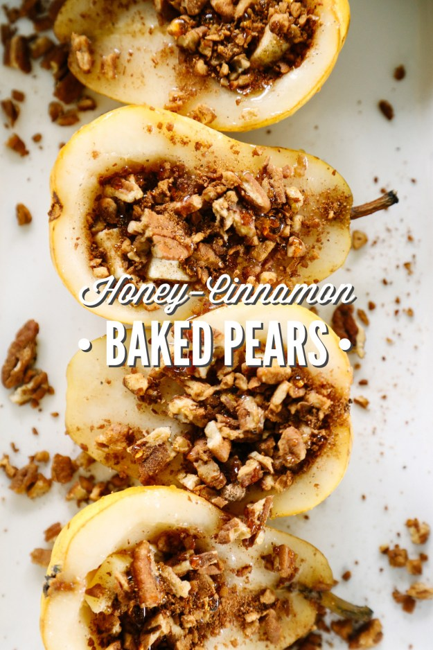 For a seasonal, oven-baked sweet treat, stuff pears with pecans + cinnamon, then drizzle with honey.