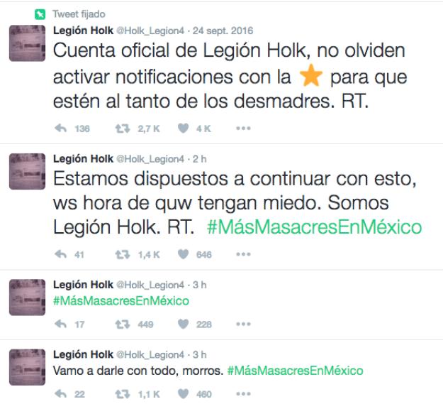 No sólo eso. Desde una de sus cuentas en Twitter, Legión Holk celebra los sucesos de esta mañana.