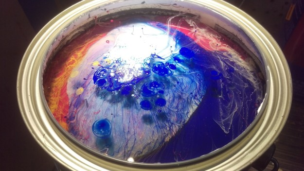 This can of paint, before the paint's been mixed.