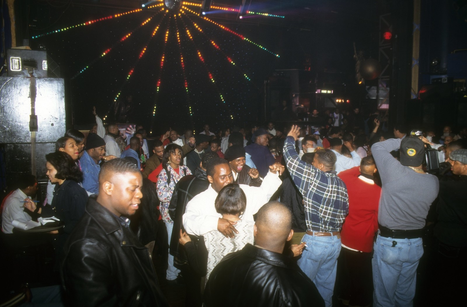 Crowds dance at a party at Club Expo, 1995.