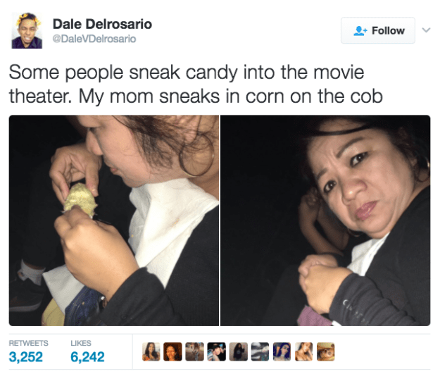 This mum and her cinema snack.