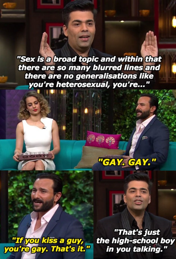 In fact, Saif heckled Karan while the latter tried to make some sense.