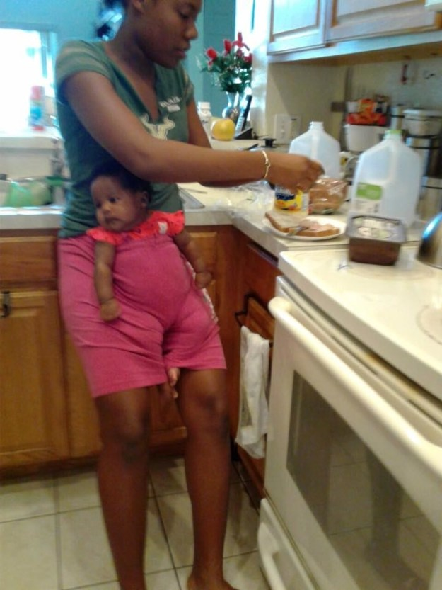 J'Ann was hungry and wanted to make a sandwich, but she didn't want to let Ava out of her sight. But because J'Ann was babysitting at her own house — rather than at Claudia's house which was baby-proofed and fitted with a highchair — she had to think fast.