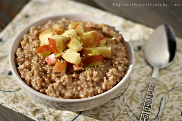 This recipe cooks steel cut oats in just a few minutes, and then tops it with apples and cinnamon.