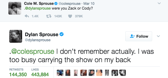 And when Dylan had the best response to Cole's trolling.