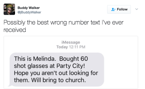 This person who got a text from a lady named Melinda who is about to get real drunk: