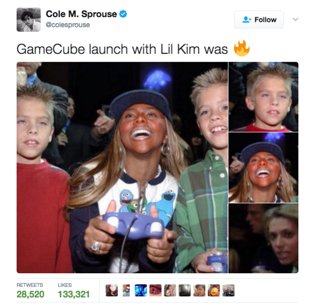 On Wednesday, Sprouse posted a throwback photo from the Nov. 17, 2001 launch party for Nintendo's Gamecube, and there's a lot going on.