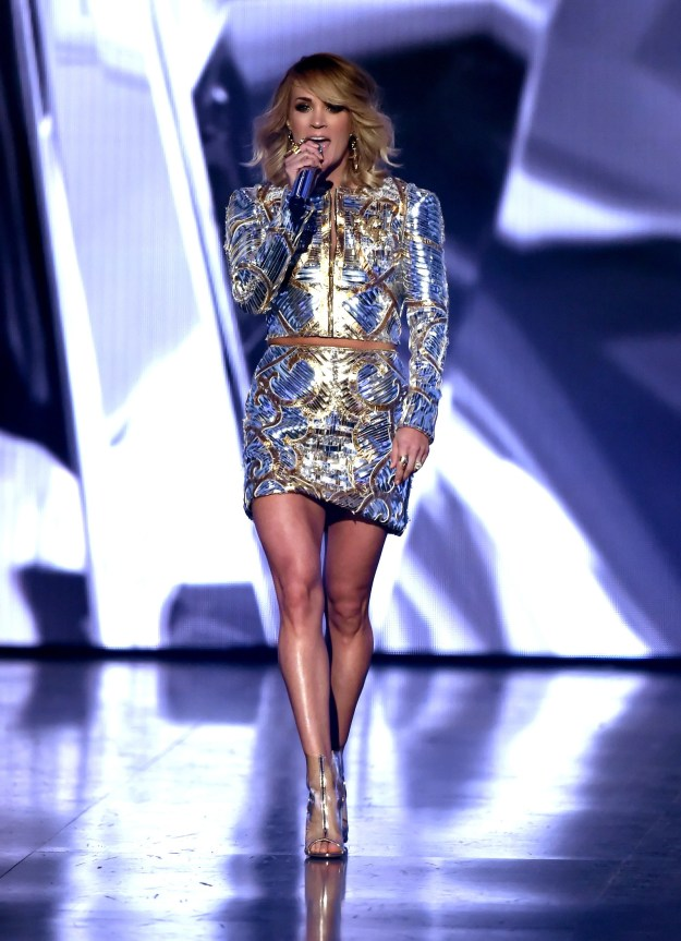 "Carrie Underwood helped open the show by singing ""Church Bells"" and, TBH, her legs stole the whole performance."