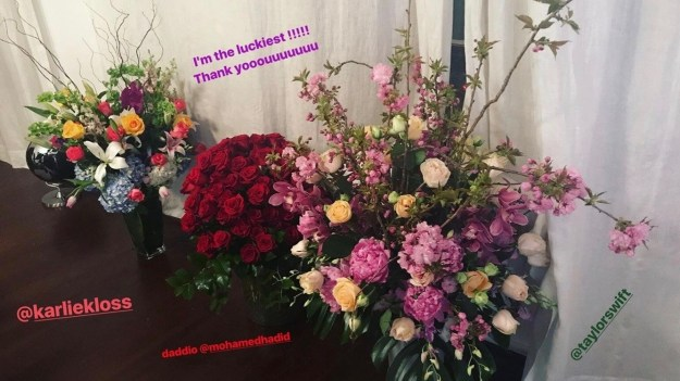"But when you're Gigi Hadid, you get lots of floral arrangements from pals like Taylor Swift, Karlie Kloss, and even your ""Daddio"". And, of course, you share them on your Instagram story as a token of gratitude."
