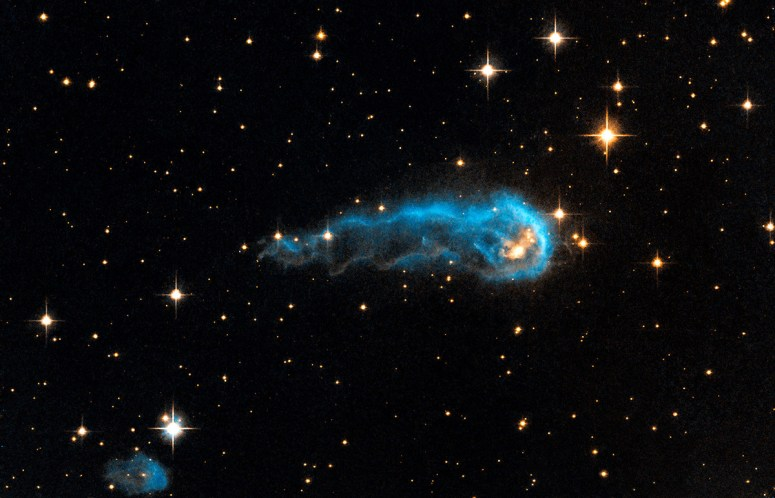 The caterpillar-shaped knot, called IRAS 20324+4057, is a protostar in a very early evolutionary stage. It is still in the process of collecting material from an envelope of gas surrounding it. However, that envelope is being eroded by the radiation from Cygnus OB2. Protostars in this region should eventually become young stars with final masses about 1 to 10 times that of our sun.