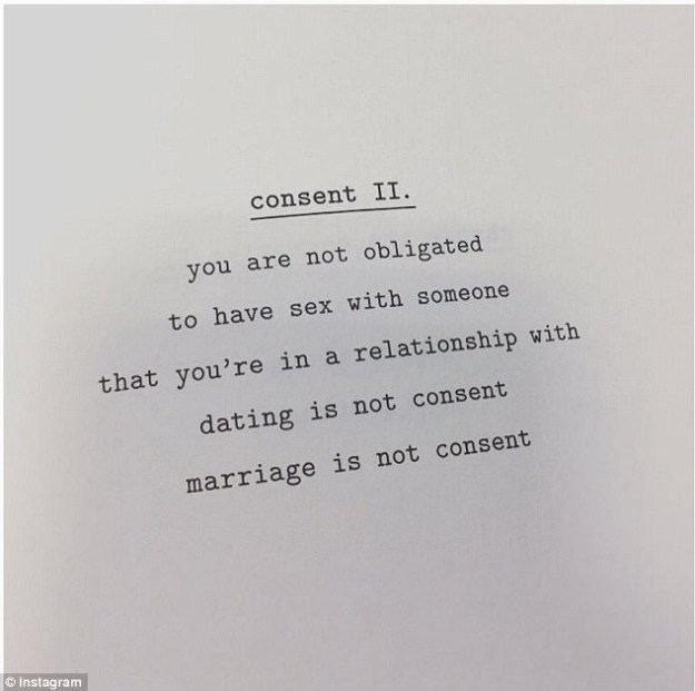 She chose to break her silence during Sexual Assault Awareness Month with a post about consent.