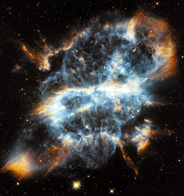 Planetary nebulae represent the final stage in the life of a medium-size star like our sun. While consuming the last of the fuel in its core, the dying star expels a large portion of its outer envelope, which becomes heated by the radiation and produces glowing clouds of gas that reveal complex structures.