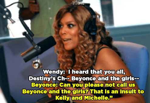 "When she stuck up for Kelly and Michelle after Wendy Williams called the group ""Beyoncé and the Girls"":"