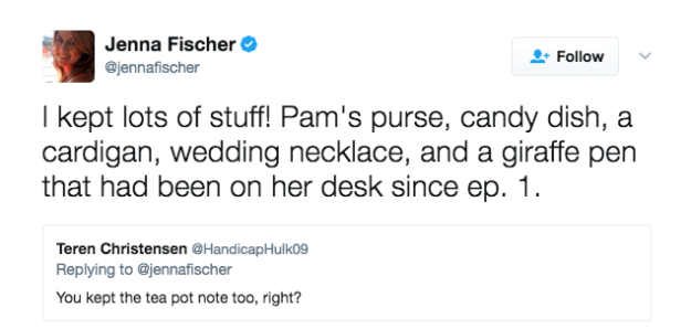Jenna Fischer revealed everything she kept from The Office.