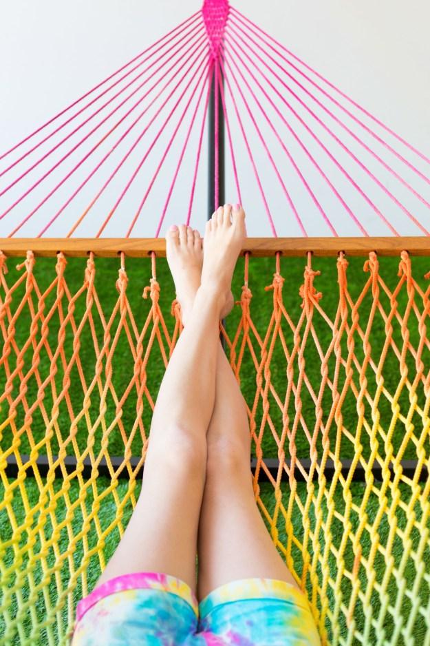 Tie dye a hammock to swing in style.