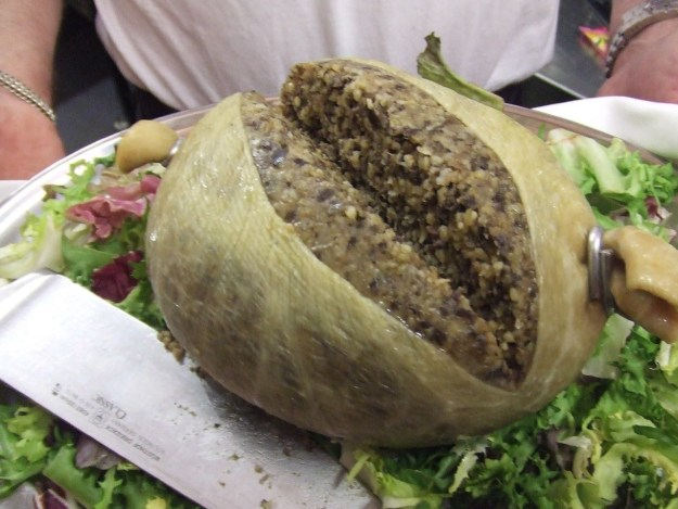 Sometimes, the meat group is represented by haggis, a sort of sexually suggestive pudding made with ground animal organs, (misc.), oats, (???), and spices.